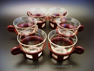 Top Vintage Engraved Bakelite Tea Glasses Bauhaus Modernist Catalin photo