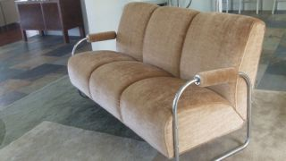 Kem Weber Machine Age Deco Couch - Mohair - Flawless photo