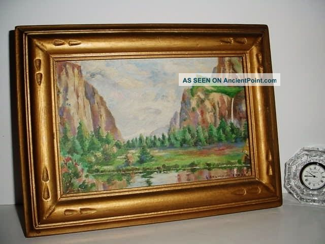G Belmont Fraze Plein Air Painting Orig Yosemite Art Nouveau Frame 1915 Art Deco photo