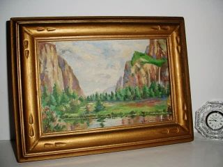 G Belmont Fraze Plein Air Painting Orig Yosemite Art Nouveau Frame 1915 photo