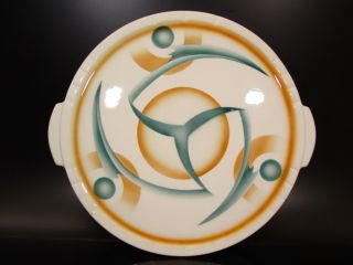 Ceramic Weimarer Republic Twister Design Cake Plate Abstract Bauhaus Modernism photo
