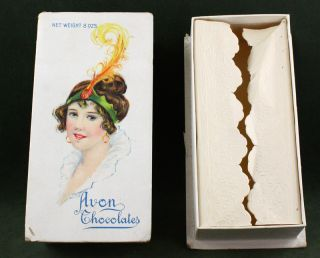 Antique Art Deco Avon Chocolates Candy Box Early 1900s Edwardian Maiden Image Nr photo