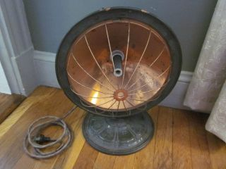 Vtg Art Deco Copper Space Heater Universal Swivel Base Wire Cage Fan Shape Works photo
