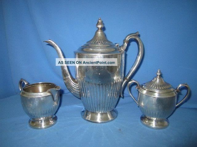 Antique1883 F.  B.  Rogers (w/crown) Silverplate Coffee/tea Set 2312 Tea/Coffee Pots & Sets photo