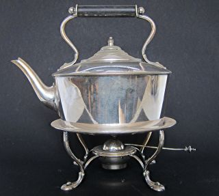 Victorian Antique Art Nouveau Silver Plated Spirit Kettle On Stand Glasgow 1900 photo