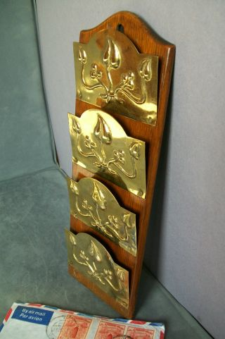 C.  1915 English Art Nouveau Brass And Oak Letter Rack; Wall Mounting photo
