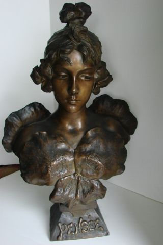 Largeantique Art Nouveau Period Bronze Bust Signed E.  Villanis 1890 ' S photo