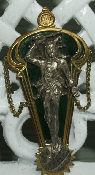 Antique Art Nouveau Pewter Brass Enamel Plaque Of Jester Carnival/circus Clown photo