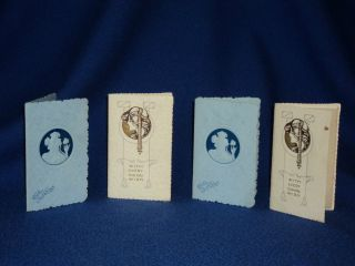X4 Unusual Art Nouveau Greeting Cards - Never - Embossed Design photo