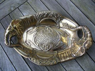 Elephant Art Nouveau Brass Dish Handles Large Oval Charger C 1900 photo