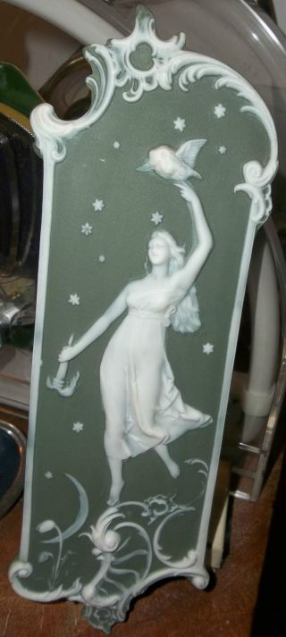 Bohemian Art Nouveau Jasperware Pate - Sur - Pate Mucha Maiden Wall Plaque C.  1900 Nr photo