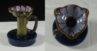 Antique Art Nouveau Majolica ? Drip Glaze Orchid Chamberstick Candlestick photo