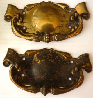 Pair Of Edwardian Art Nouveau Period Brass Drawer Handle,  Circa 1905. photo