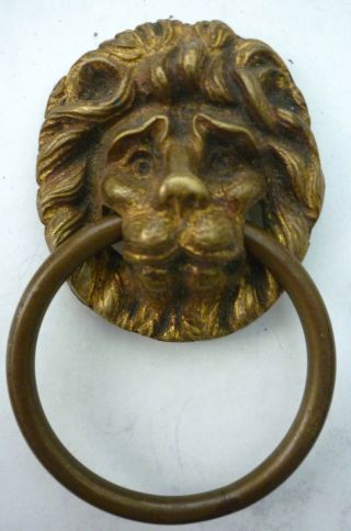 George Iii Period Gilded Brass Lions Head Ring Handle,  Circa 1800. photo
