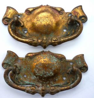 Pair Of Edwardian Art Nouveau Period Brass Drawer Handles,  Circa 1905. photo