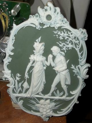 Bohemian Jasperware Pate - Sur - Pate Cherub Romantic Couple Wall Plaque C.  1900 Nr photo