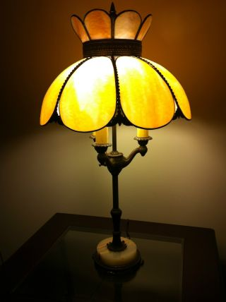 Vintage Antique Slag Glass Brass/bronze Lamp 3 Light Ornate Table Lamp photo