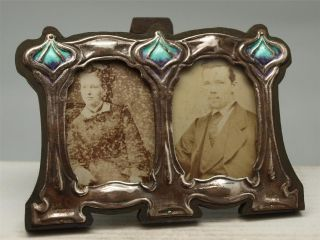 Art Nouveau Silver & Enamel Double Frame With Sepia Photos photo