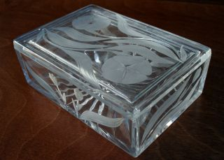 Art Nouveau Vintage Glass Trinket Box photo