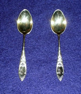 Gold & Silverplated Two - Toned Art Nouveau Demitasse Teaspoons 4 1/4