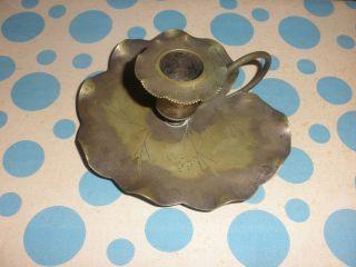 Vintage Art Nouveau Brass Dalton Bros.  Water Lily Pad Lilypad Candlestick photo