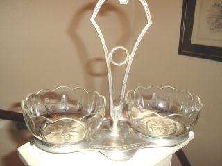 2 Glass Preserve Dishes In A Metal Stand photo