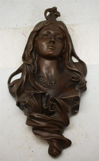 Stunning Art Nouveau Solid Bronze Lady Face Mask - Wall Hanging Art photo
