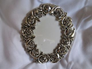 Art Nouveau Style Silver Roses Glazed Photo/picture Frame photo