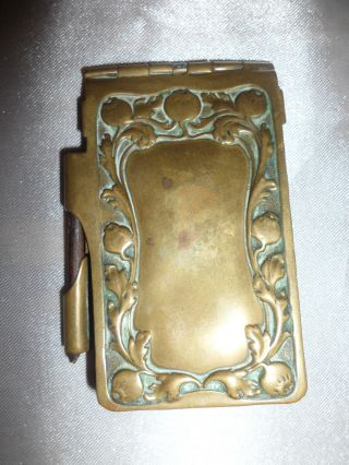 A Vintage C.  1890 Brass Art Nouveau Spring Top Card & Pencil Holder - photo