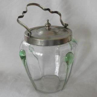 Antique Hand Blown Glass Biscuit Barrel With