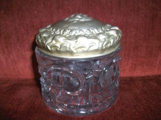Art Nouveau German Silver Press Glass Lady Trinket Box Container photo