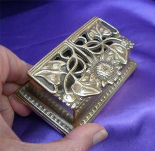 Vintage Brass Art Nouveau Design Stamp Holder / Box Desk Top Art Deco Sunflower photo