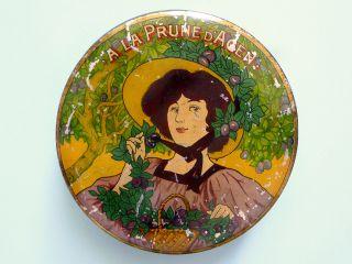 Antique Art Nouveau 1900 French Sweet/biscuit Tin Box Vintage Retro France Rare photo