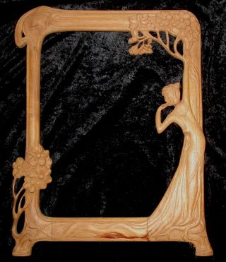 Large Art Nouveau Carved Solid Mahogany Picture Or Mirror Frame.  Wmf. photo