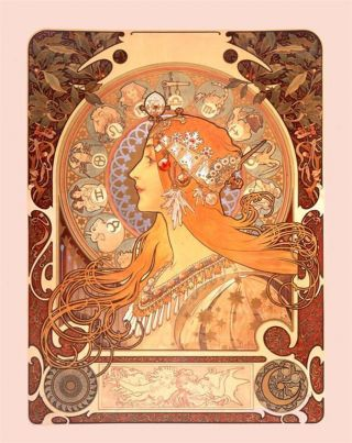 Alphonse Alfons Mucha Art Nouveau Deco Zodiac Picture Star Sign Painting Print photo