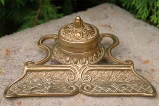 Antique Brass Art Nouveau Inkwell & Quill Rest,  Victorian Desk Display Inkwell photo