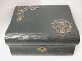 Vintage Victorian Jewelry Box Spelter Art Nouveau Lady Design On Leather & Wood photo