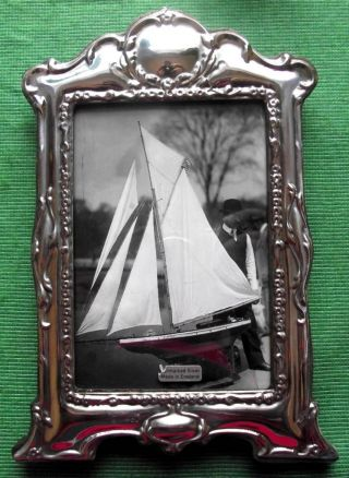Large Art Nouveau London Hallmark Sterling Silver Photo Frame : Xmas Valentines photo