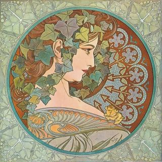 Alphonse Mucha Ivy Design Wooden Quality Coaster B photo