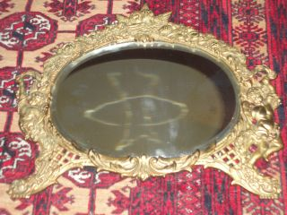 Antique Art Deco/art Nouveau Victorian Figural Brass Mirror W/cherubs Signed photo