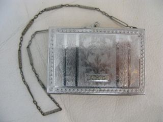 Antique Art Nouveau Etched Floral Silver Double Dance Purse Lipstick Compact Amg photo