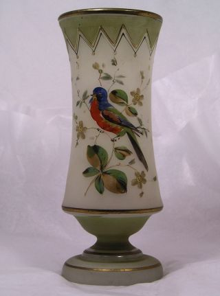 Vintage Art Nouveau Enameled Exotic Bird Glass Vase C32 photo