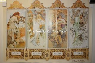 New Alphonse Mucha 4 Four Seasons Poster Art Nouveau Summer Autumn Winter Spring photo
