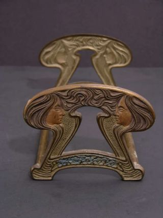 Early 20th C Sliding Brass Bookends Art Nouveau Women photo