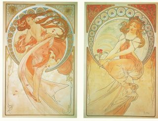 Alphonse Alfons Mucha Art Nouveau Deco The Arts Dance Music 4 Prints Pictures photo