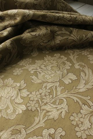 Antique French Art Nouveau Woven Curtain Drape ~ Khaki Green Large Scale Trimmed photo
