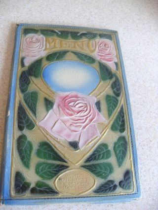 Heavy Embossed Art Nouveau Deco Paper/leather Menu Cover Holder Case Jacket 1920 photo
