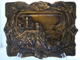Art Nouveau Solid Cast Bronze Plaque,  Picture,  Alpine Landscape,  France,  Ca1890 ' S. photo