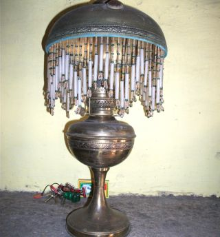 Fabulous French Art Nouveau Brass Oil Lamp.  C1890 Complete & photo