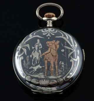 Art Nouveau Repeater Niello Silver Hunter Pocket Watch F.  Russian Market 1900 photo